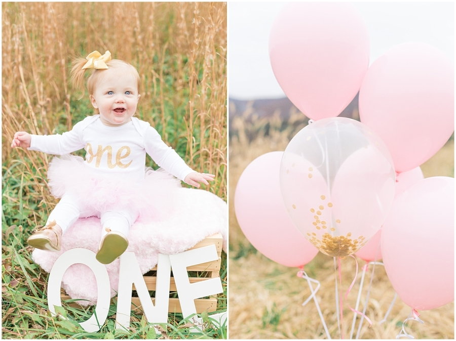 one-year-old-pink-gold-confetti-balloons